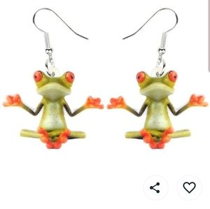 Jewelry - BOGO NWT meditating frog earrings
